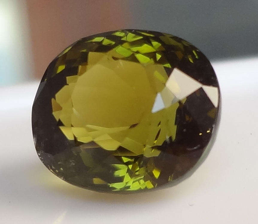 Olive green Tourmaline for sale.