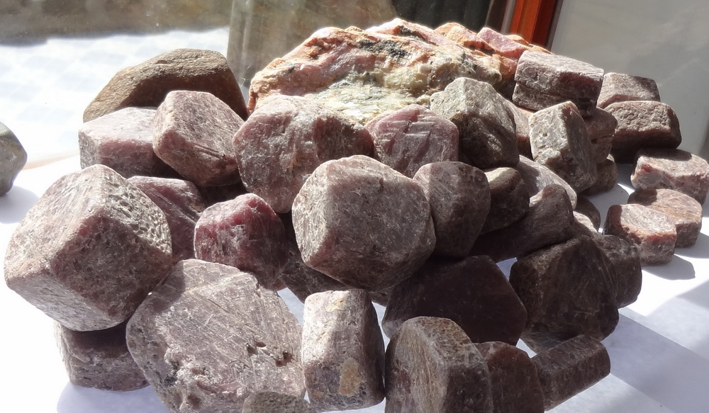 Very large Ruby hexagonal Crystal Rock for Ayurveda medicine.