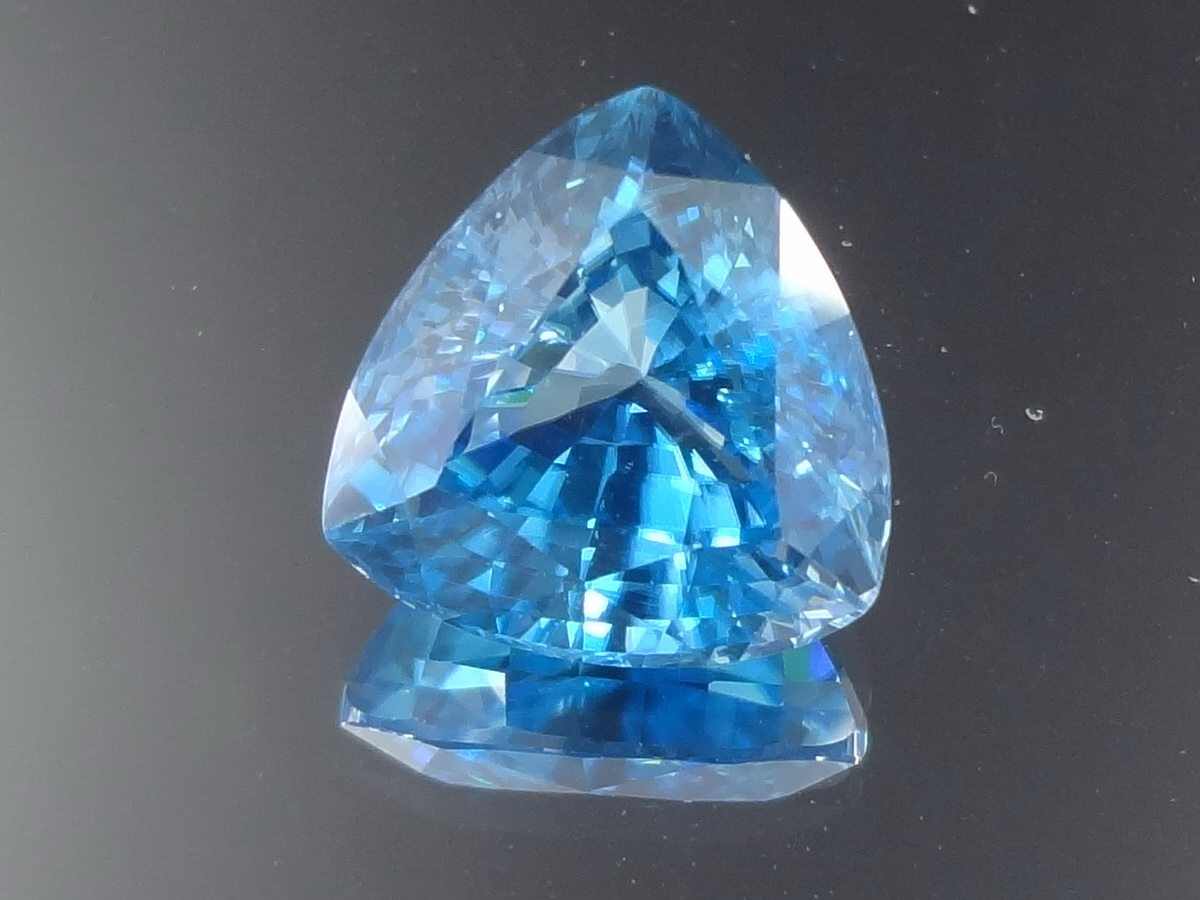 10.35ct Blue Zircon, Very Clean and Shiny, Trillion Cut