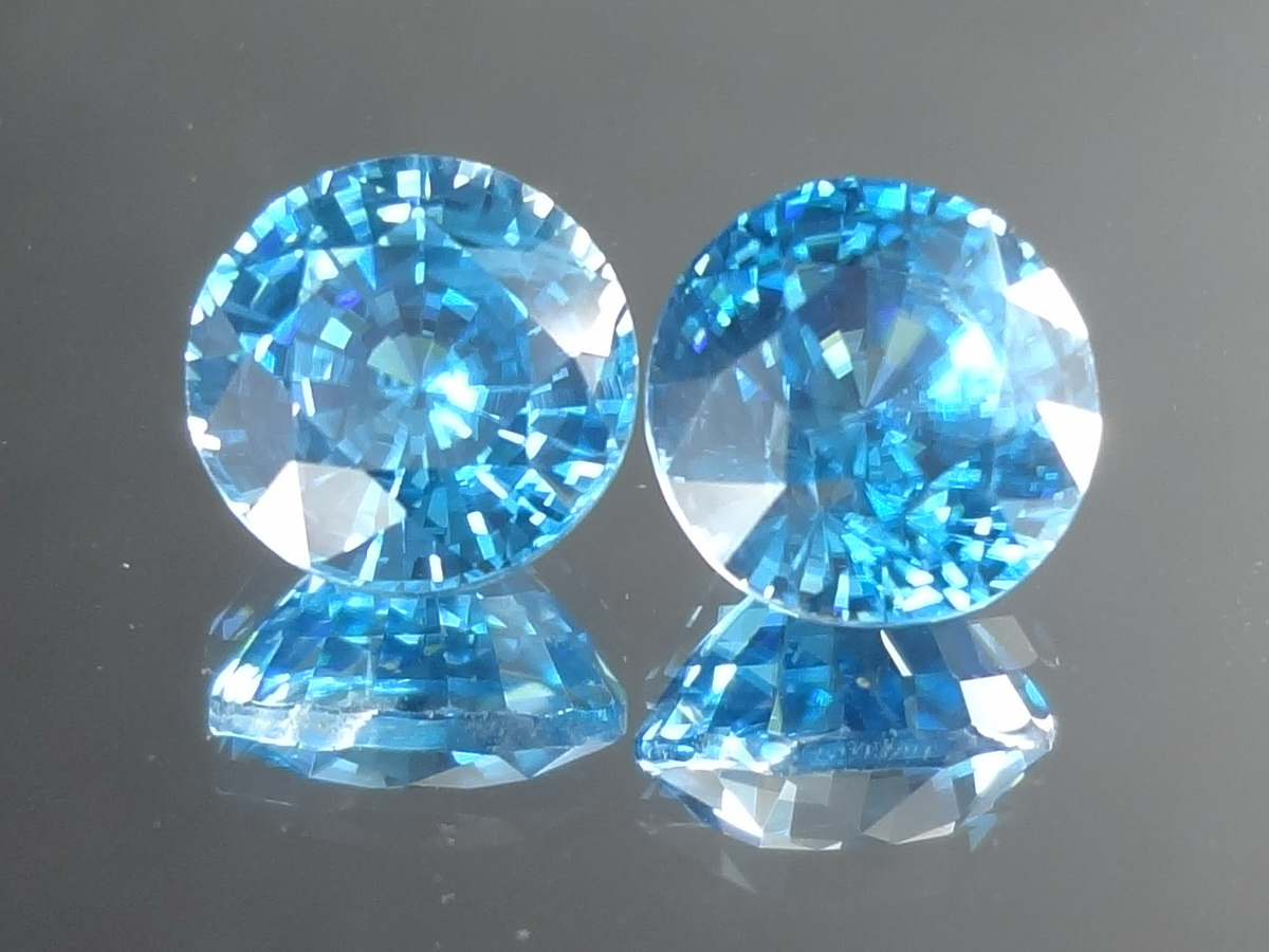 8mm Calibrated Round Blue Zircon from Cambodia.