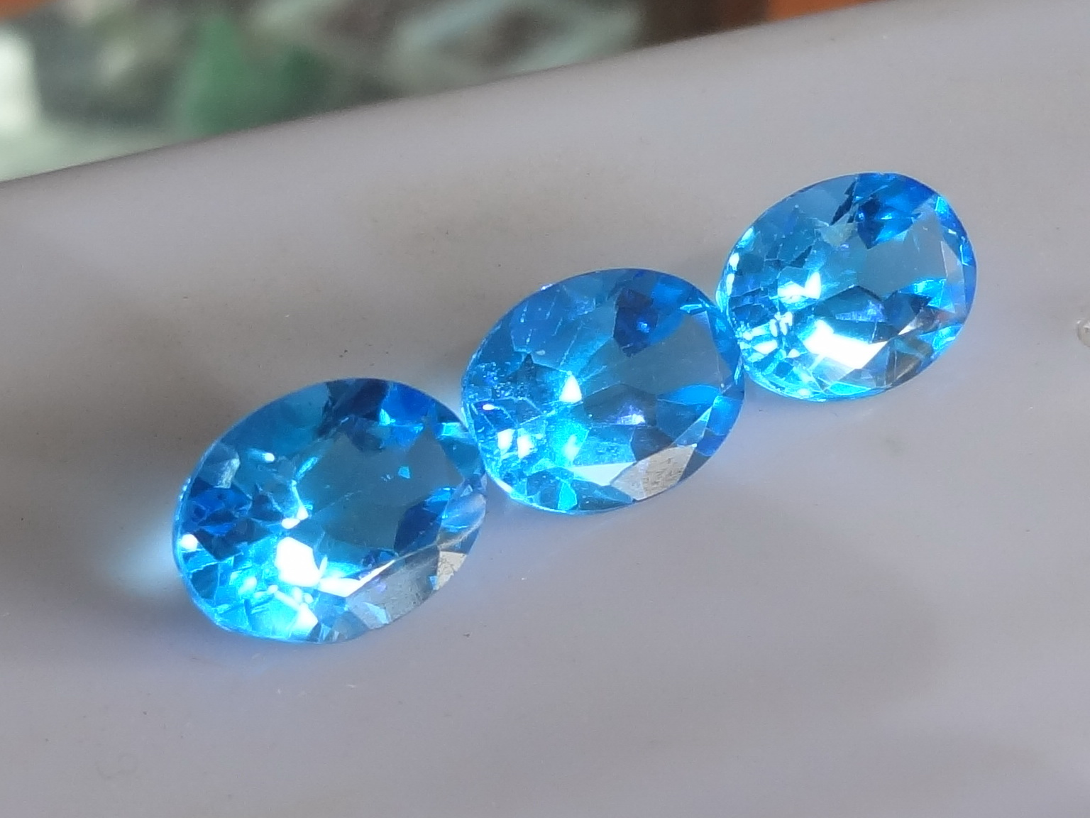 Calibrated Pair or Set of Swiss Blue Topaz.