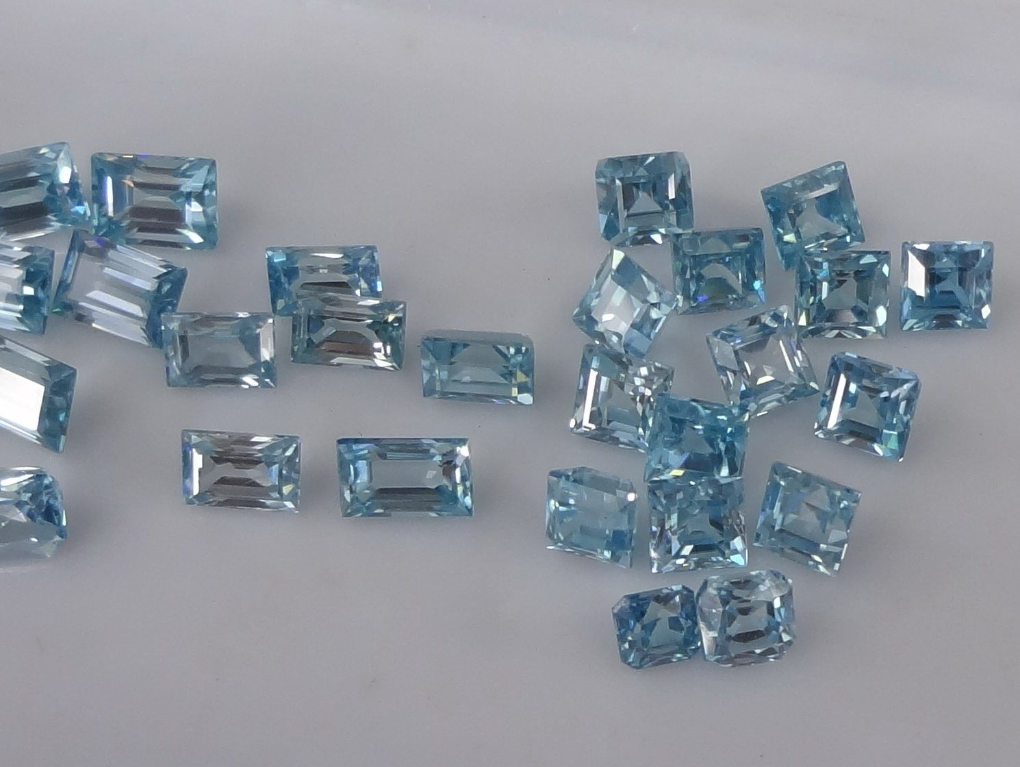 Blue Zircon Wholesale, calibrated with various cuts Rectangle, Baguette, Square, Assher and more