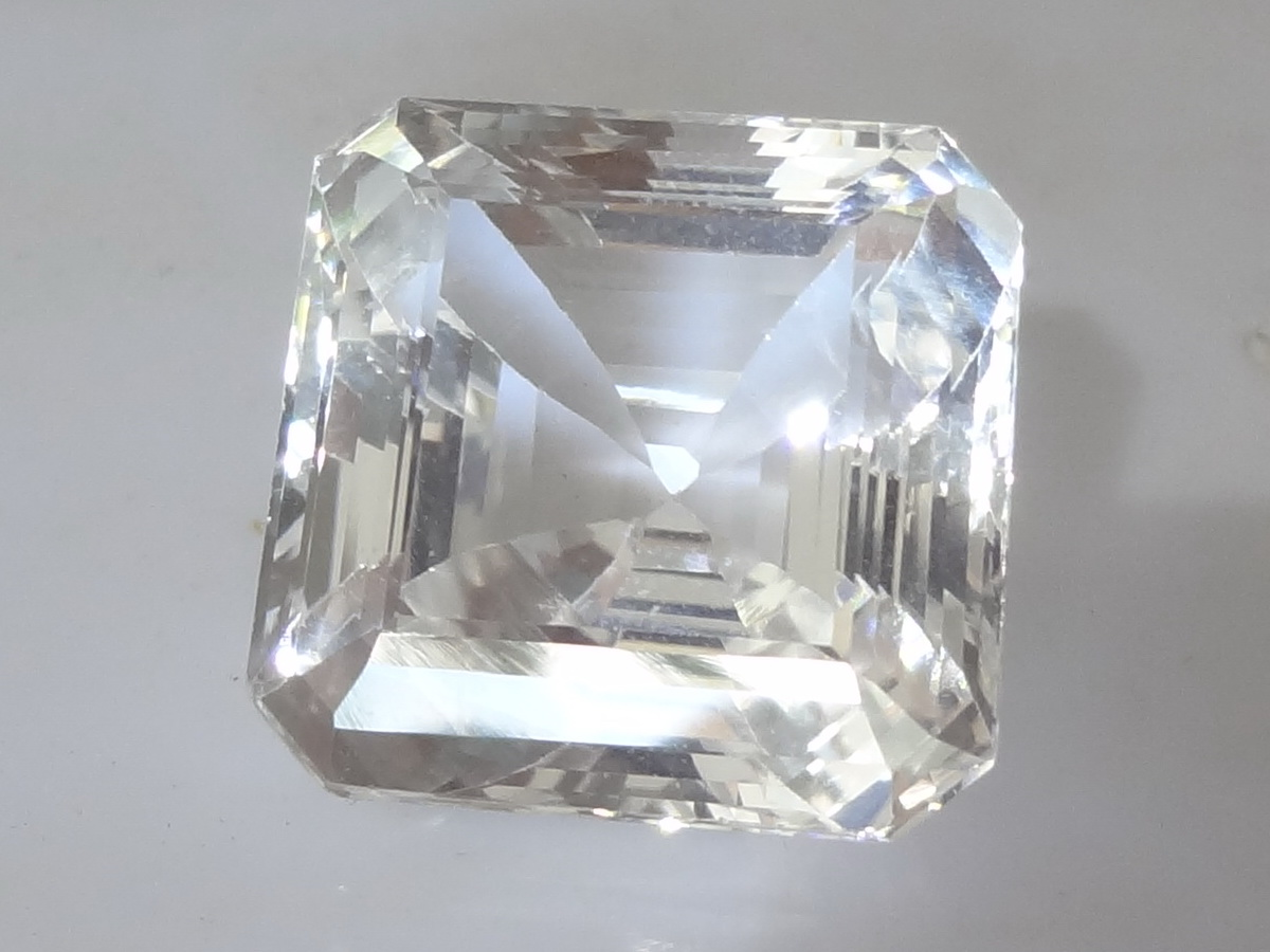 Large 44 Carats Square Cut White Topaz from Sri Lanka