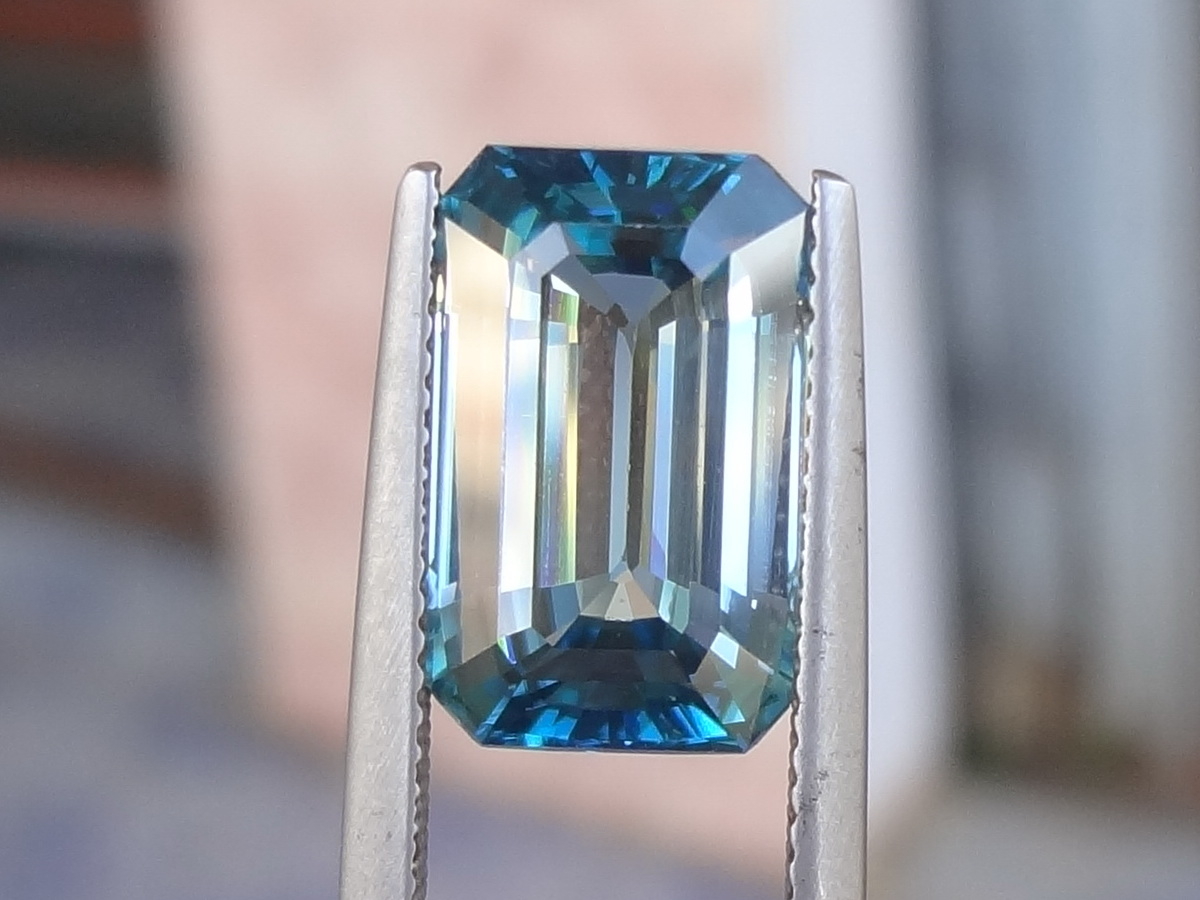 Purchase Large Emerald Cut Blue Zircon Bi Color Gemstone White And