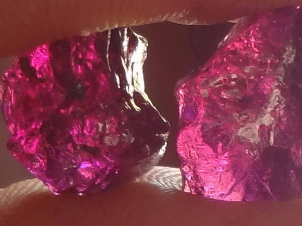 Purple Rhodolite rough rocks.