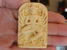 Hindu God Shiva-Vishnu in Ivory with 10 arms and stepping on human soul