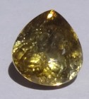 Large cheap and shiny pear shape yellow Tourmaline.