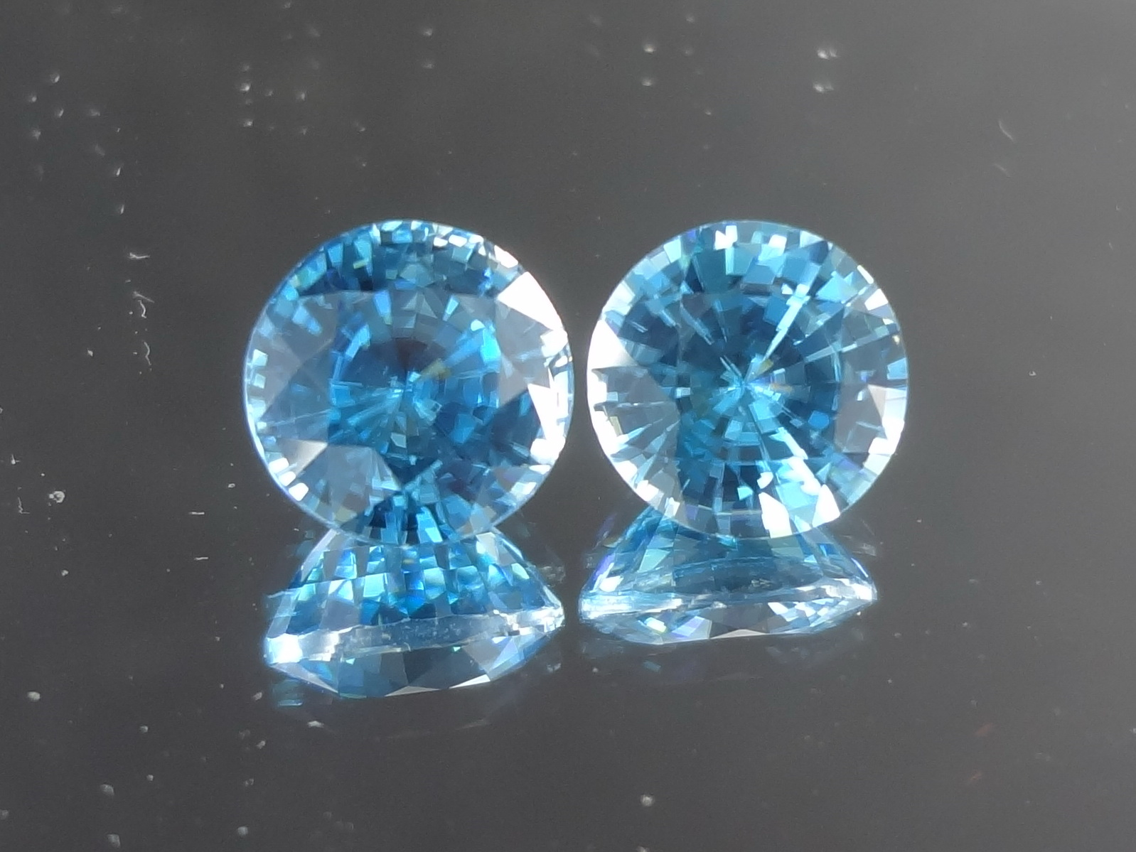 Buy a Large Blue Zircon Round Calibrated Pair from Cambodia
